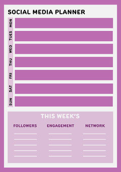 Purple & White Social Media Planner A4 Social Media Flyer