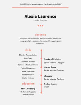 Grey and Orange Designer Resume Modern Resume