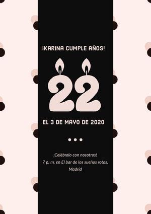 ¡Karina cumple años!  Invitación de fiesta