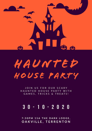 Purple and Orange Haunted House Halloween Party Invitation Card Uitnodiging voor feest