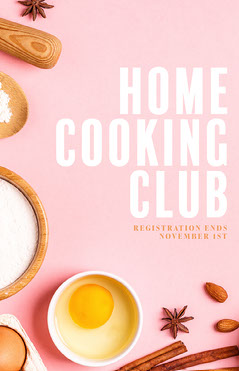 Pink Home Cooking Club Poster Cooking