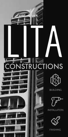 Black and White Construction Company Vertical Ad with Architecture Construction
