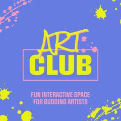 Purple & Yellow Art Club Splash Instagram Square Paint