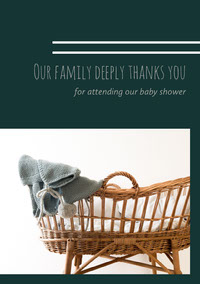 Green and White Thank You Card Baby Shower