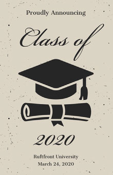 Beige and Black Illustrated Graduation Poster with Mortarboard Poster