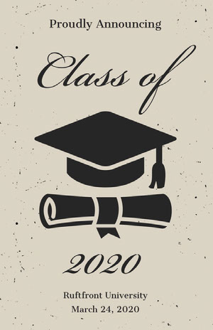 Beige and Black Illustrated Graduation Poster with Mortarboard Graduation Card