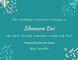 Shannon Dai Birthday Certificate
