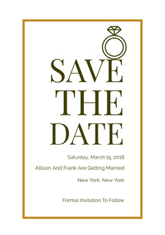 Gold Save the Date Wedding Card with Ring Gold