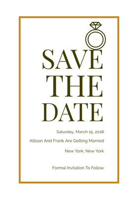 Gold Save the Date Wedding Card with Ring Save the date-kaart