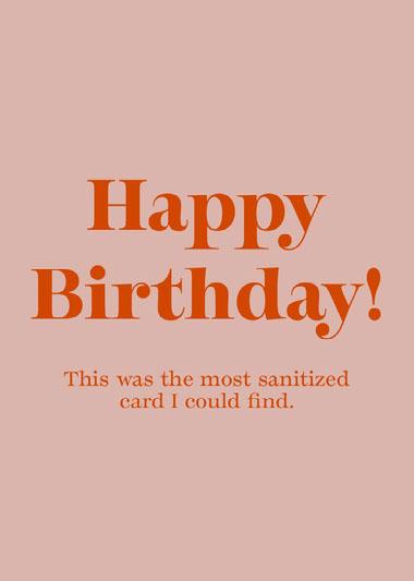 Sanitized Happy Birthday Card COVID-19-Geburtstagskarten