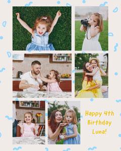 Luna 4th birthday collage Instagram portrait Kids