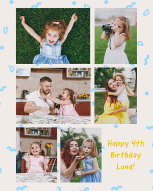 Luna 4th Birthday Collage Instagram Portrait Photo Book Maker