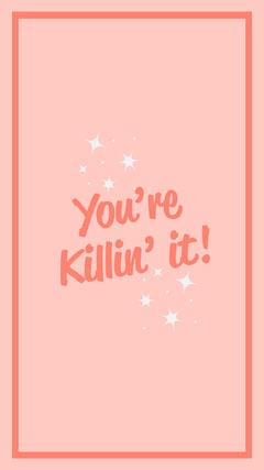 Pink & Peach You're Killin It Simple Stars iPhone Wallpaper  Stars