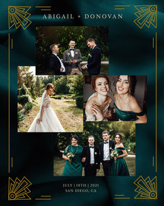 Green Silk Wedding Photo Collage Instagram Portrait  Gold