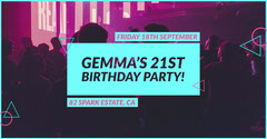 Purple and Blue Birthday Party Event Ad Facebook Banner Club Party