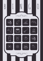 Black and White Stripes and Skull Illustrated Halloween Party Bingo Card Festa di Halloween