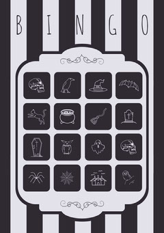 Black and White Stripes and Skull Illustrated Halloween Party Bingo Card Halloween Party Bingo Card