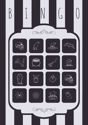 Black and White Stripes and Skull Illustrated Halloween Party Bingo Card ビンゴカード