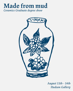 Blue and White Illustrated Ceramics Graduate Show Poster Art Show