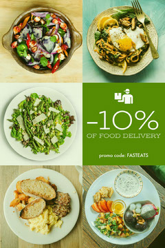 Green and Yellow Food Delivery Service Ad Flyer with Collage of Food  Promotion