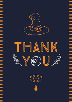 Halloween Witch Party Thank You Card Halloween Party Thank you Card