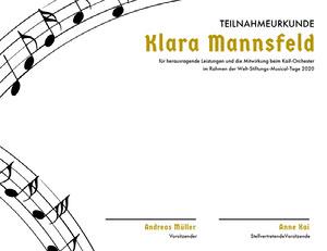Klara Mannsfeld  Zertifikat