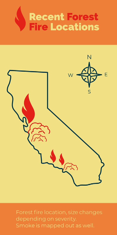 Orange and Yellow Forest Fire Infographic with California Map Infographic Examples