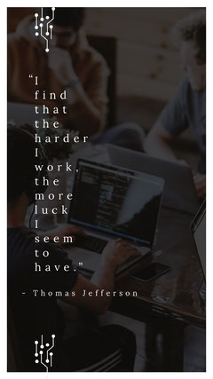 "I find that the harder I work, the more luck I seem to have."" Instagram Story"