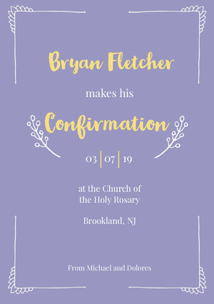 Purple, Yellow and White Confirmation Announcement Card Confirmation Annoucement