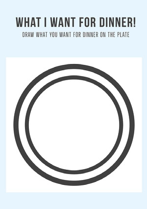 Black and White Dinner Drawing Worksheet Fiche d'exercices
