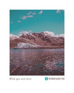 Pastoruri Glacier Peru Postcard with Landscape of Glacier Lake