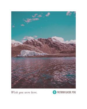 Pastoruri Glacier Peru Postcard with Landscape of Glacier Urlaubspostkarte