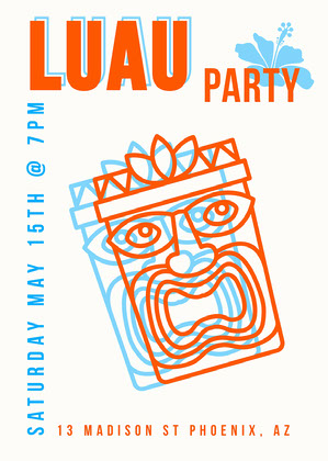 Trippy Orange Luau Invitation Party Invitation