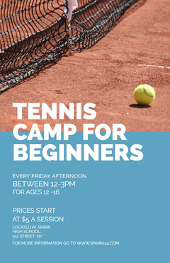 Light Toned Tennis Camp Ad Poster Tennis