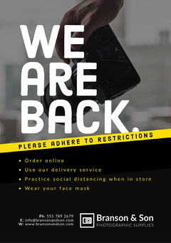 Black and Yellow We Are Back Flyer - A5 Photography