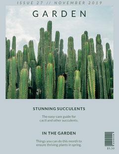 Green and Blue Cactus Garden Magazine Cover Cactus