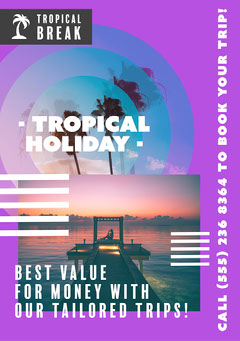 Purple Tropical Vacation A5 Flyer  Vacation