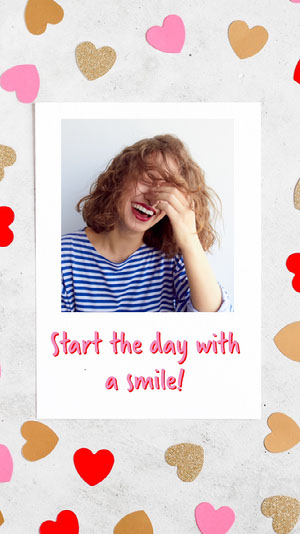 Hearts and Smiling Woman Positive Instagram Story  Personal Branding