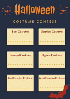 Halloween Spooky Bat Party Costume Card Halloween Costume Contest
