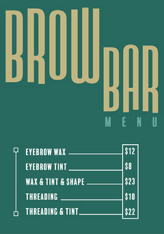 Green & Gold Brow Bar Price List A5 Flyer Beauty