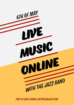 White and Yellow Geometrical Jazz Concert Flyer Live Music Flyer
