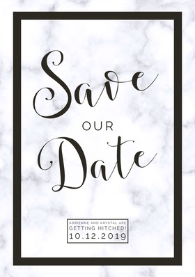 Black and White Elegant Save the Date Wedding Announcement Card Annonce de mariage