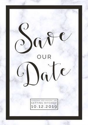 Black and White Elegant Save the Date Wedding Announcement Card 結婚通知