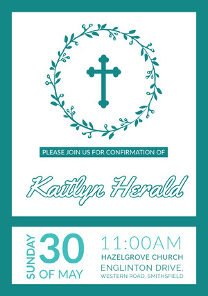 Blue, White, Light Toned, Confirmation Invitation Card Confirmation Invitation