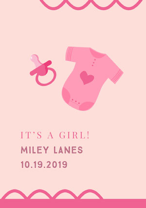 Pink Birth Announcement Birth Announcement