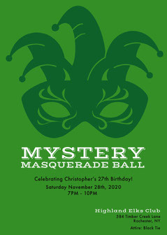green simple Masquerade Invitation Gala Flyer