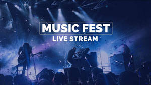 Blue Music Festival Live Stream YouTube Thumbnail with Band on Stage Cartel de Festival de Música