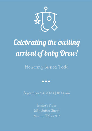 Blue and White Baby Shower Invitation Wir bekommen ein Kind
