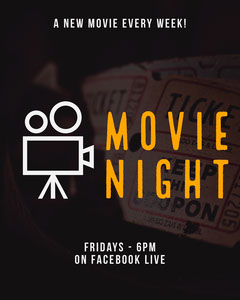 Black and Orange Movie Night Live Stream Event Instagram Portrait with Camera Icon Stream