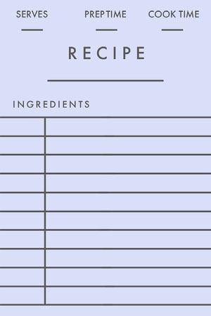 Light Blue Bank Recipe Card 조리법 카드